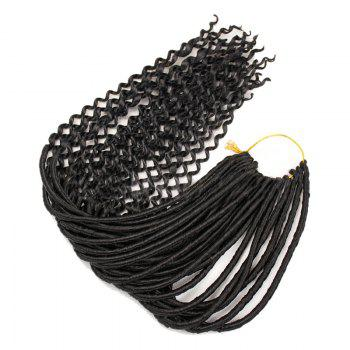 Long Faux Locs Curly Crocheted Braids Synthetic Hair Extensions - BLACK BLACK