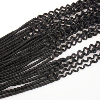 Long Faux Locs Curly Crocheted Braids Synthetic Hair Extensions - BLACK