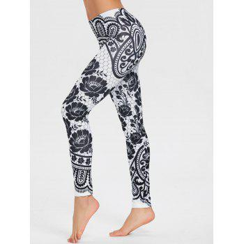 Floral Monochrome Leggings - BLACK M