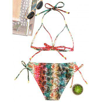 Snake Pattern Micro String Bikini Set - COLORMIX L