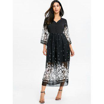 Bell Sleeve Floral Chiffon Midi Dress - BLACK XL