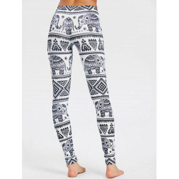 Elephant Print African Leggings - WHITE XL