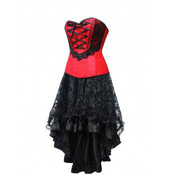Lace Up High Low Strapless Corset Dress - RED XL