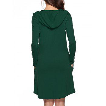 Hooded Tunic Dress with Pocket - GREEN XL
