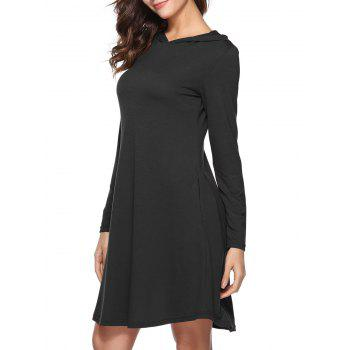 Hooded Tunic Dress with Pocket - BLACK XL