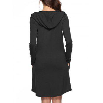 Hooded Tunic Dress with Pocket - BLACK S