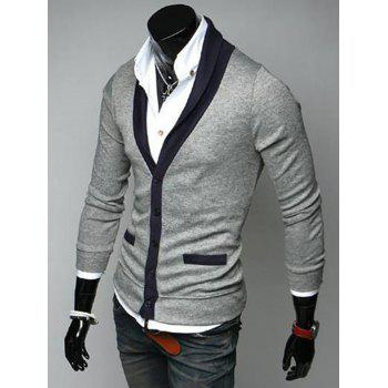 V Neck Color Block Button Up Cardigan - LIGHT GRAY M