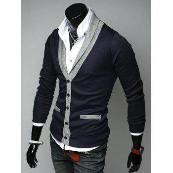 V Neck Color Block Button Up Cardigan - CADETBLUE L