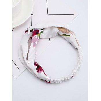 Flower Printed Multi Use Elastic Hair Band - WHITE