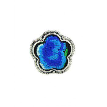Floral Embroidery Decorated Ring - BLUE BLUE