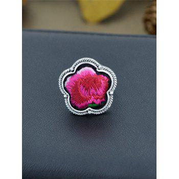 Floral Embroidery Decorated Ring - RED ONE-SIZE