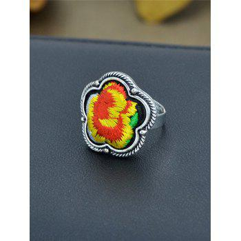 Floral Embroidery Decorated Ring - YELLOW YELLOW