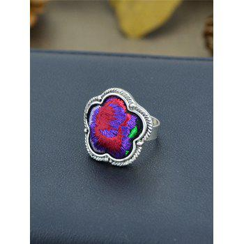 Floral Embroidery Decorated Ring - PURPLE PURPLE