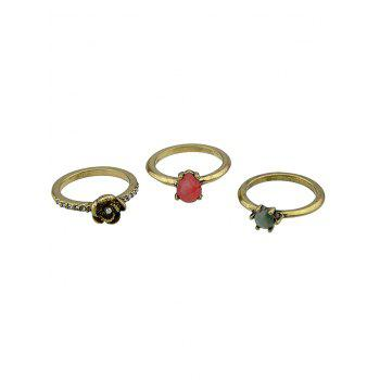 Faux Gem and Crystal Decorated Rings Set - GOLDEN GOLDEN