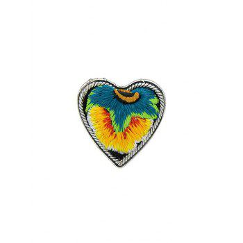 Love Heart Shape Embroidery Ring - YELLOW YELLOW