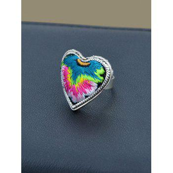 Love Heart Shape Embroidery Ring - RED RED