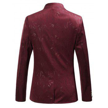 Single Breasted Golden Printed Blazer - WINE RED 4XL