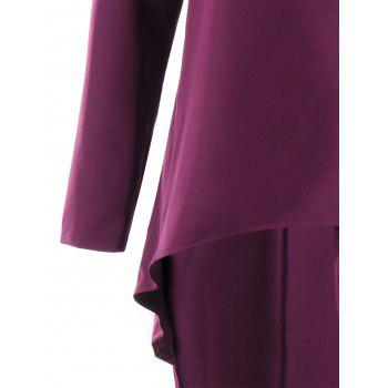 Rhinestone Shawl Collar High Low Coat - PURPLE M
