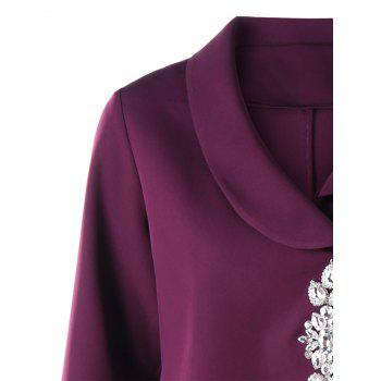 Rhinestone Shawl Collar High Low Coat - PURPLE 2XL