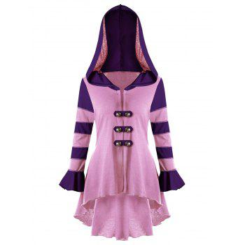 High Low Hooded Corset Double Breasted Coat - PINK XL