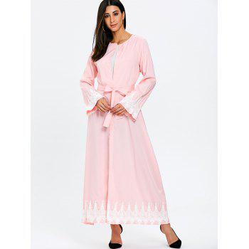 Maxi Trench Coat with Tie Belt - PINK L