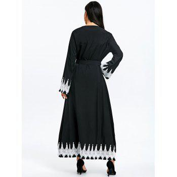 Maxi Trench Coat with Tie Belt - BLACK XL