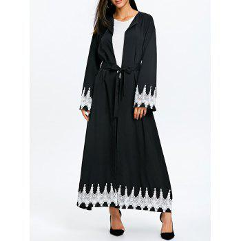 Maxi Trench Coat with Tie Belt - BLACK BLACK