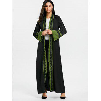 Bell Sleeve Longline Trench Coat - GREEN M