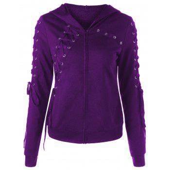 Zip Up Lace Up Hoodie - DEEP PURPLE M