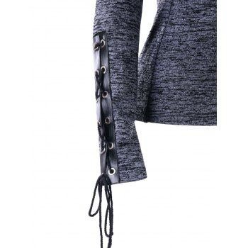Marled Drawstring Neck Lace Up Hoodie - GRAY M