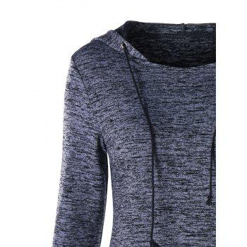 Marled Drawstring Neck Lace Up Hoodie - GRAY L