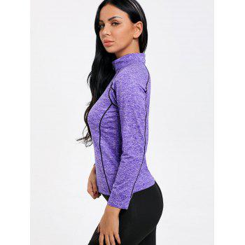 Sports Contrast High Neck Half Zip T-shirt - PURPLE 2XL