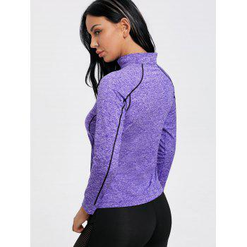 Sports Contrast High Neck Half Zip T-shirt - PURPLE L