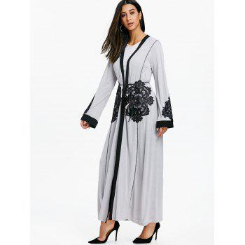 Lace Insert Open Front Maxi Coat - GRAY M