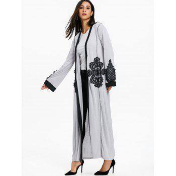 Lace Insert Open Front Maxi Coat - GRAY L