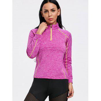 Sports Contrast High Neck Half Zip T-shirt - ROSE RED M