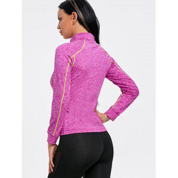 Sports Contrast High Neck Half Zip T-shirt - ROSE RED XL