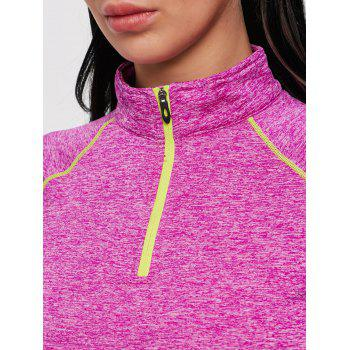 Sports Contrast High Neck Half Zip T-shirt - ROSE RED 2XL