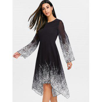 Asymmetric Linear Print Chiffon Dress - BLACK L