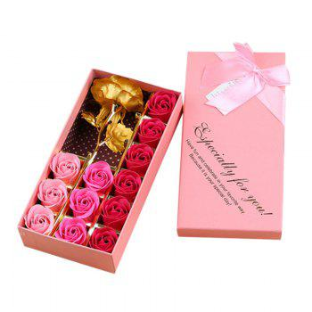 12PCS Soap Roses and 1PC Gold Leaf Artificial Flower with Box - COLORMIX