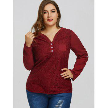 Plus Size High Low Pocket Lace Blouse - WINE RED 4XL