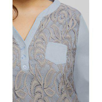 Plus Size High Low Pocket Lace Blouse - GRAY 3XL