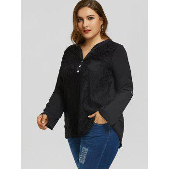 Plus Size High Low Pocket Lace Blouse - BLACK 2XL