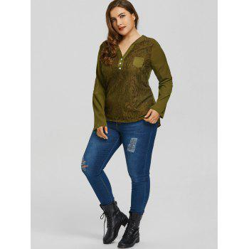 Plus Size High Low Pocket Lace Blouse - ARMY GREEN 2XL