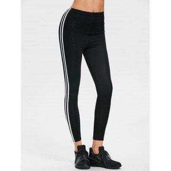 Ninth Striped Sports Leggings - BLACK M