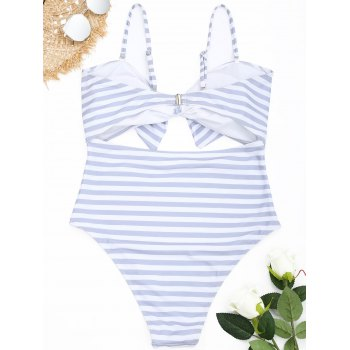 Striped Cutout Plus Size Swimsuit - GREY/WHITE 4XL