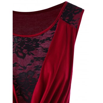 Mini Robe Moulante à Empiècement en Dentelle - Rouge vineux M