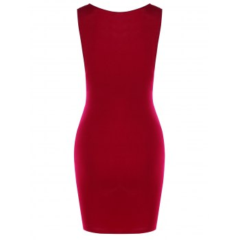 Draped Lace Insert Bodycon Mini Dress - WINE RED L