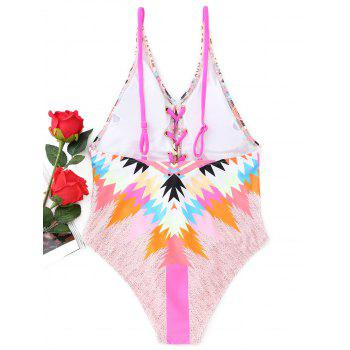 Colorful Lace-up One Piece Swimsuit - COLORMIX S