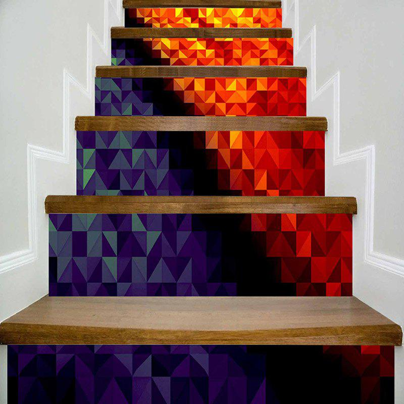 Geometric Pattern DIY Decorative Stair Stickers - COLORMIX 100*18CM*6PCS